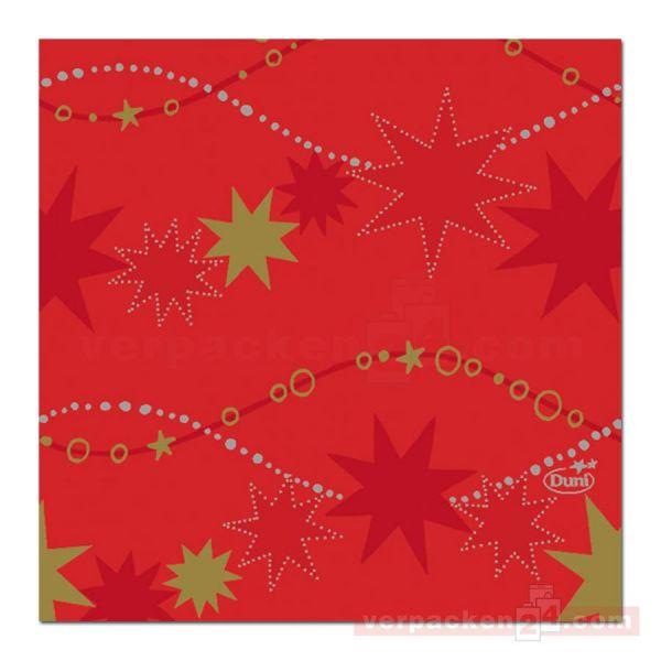 Zelltuch-Servietten DUNI, 24x24cm - 1/4 Falz, Dancing Stars Red