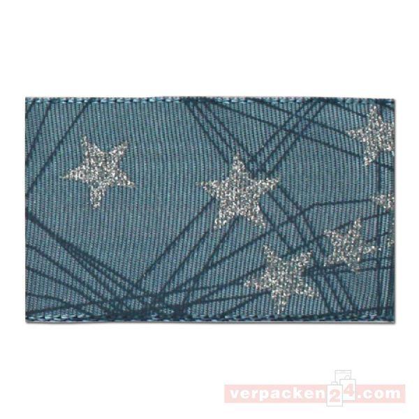 Seidenband mit Drahtkante - Stars - Rolle 40 mm - grau/silber