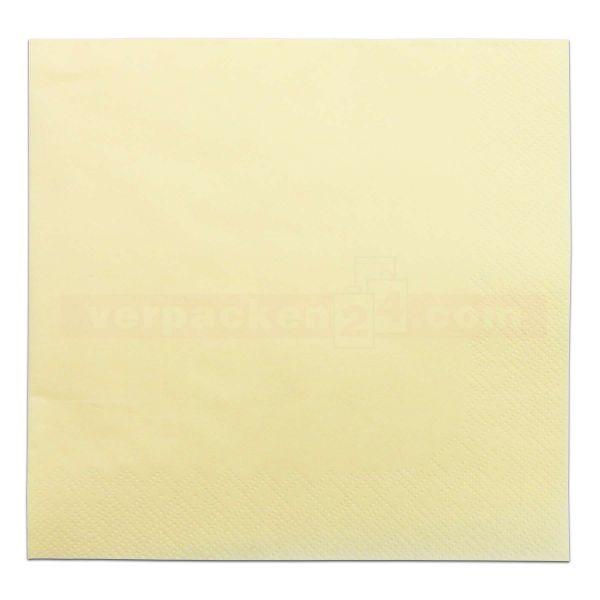 Tissue-Servietten farbig, 3-lagig, 33x33cm - 1/4 Falz - champagner
