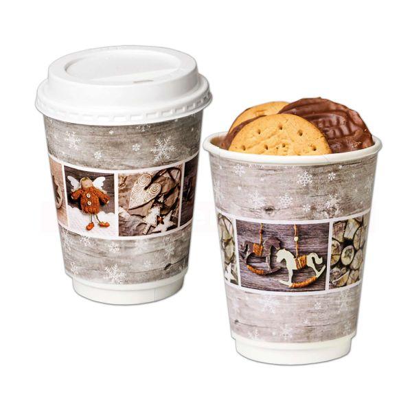 Kaffeebecher Hartpapier - doppelwandig - Vintage Stars 300ccm