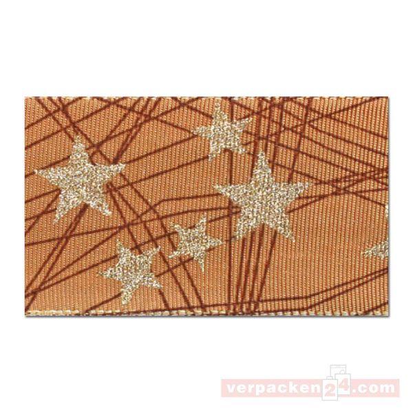 Seidenband mit Drahtkante - Stars - Rolle 40 mm - sand/gold