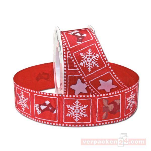 Drahtkantenband - mit Motiv Christmas, Rolle 40 mm - rot