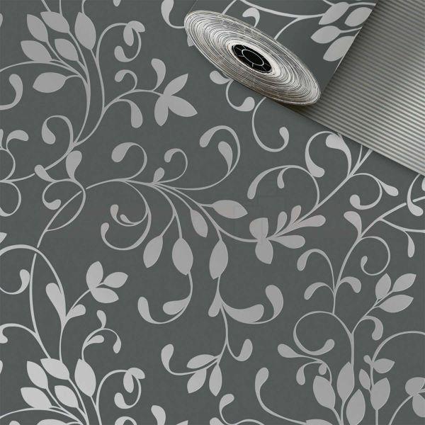 Geschenkpapier, neutral St 913081, Rolle 50 cm - Ranke grau