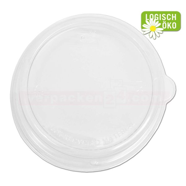 Bagasse-Salatschale rund - DECKEL - kristallklar, recycelbarem PET