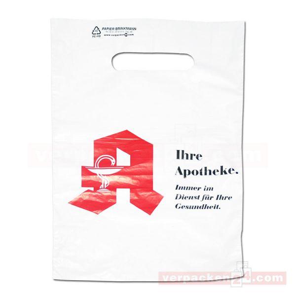 HDPE-Abreißtaschen, weiß, geblockt - Apotheke