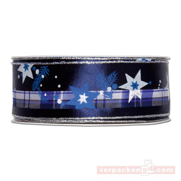 Drahtkantenband - Sterne + Zweige, Rolle 35 mm - blau/silber