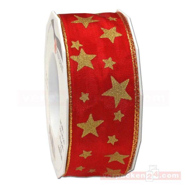 Schleifenband Weihnachten Arktis Rolle 20 m, 40 mm - rot/gold