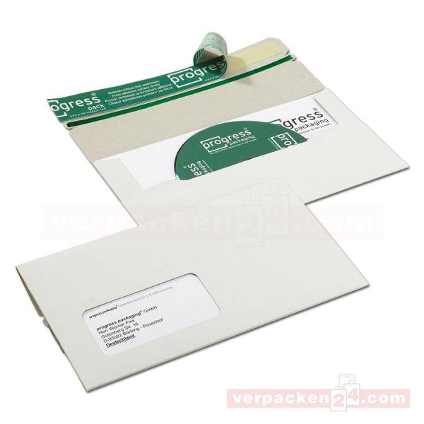 CD-Mailer, Vollpappe weiß - 218x122mm - DIN lang