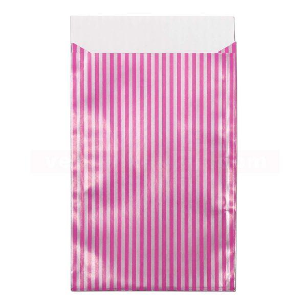 Geschenkflachbeutel, neutral - Lignes - Streifen pink/silber