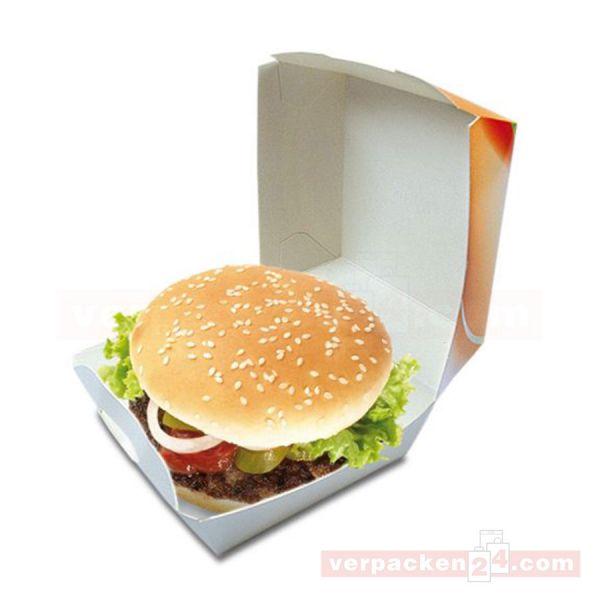 Hamburgerbox weiß - Fresh & Tasty - mit Deckel - Pappe - groß
