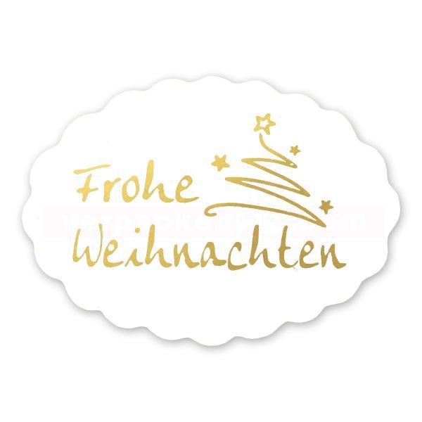 SKL-Etiketten Weihnachten - Frohe Weihnachten gold - oval 42x30 mm