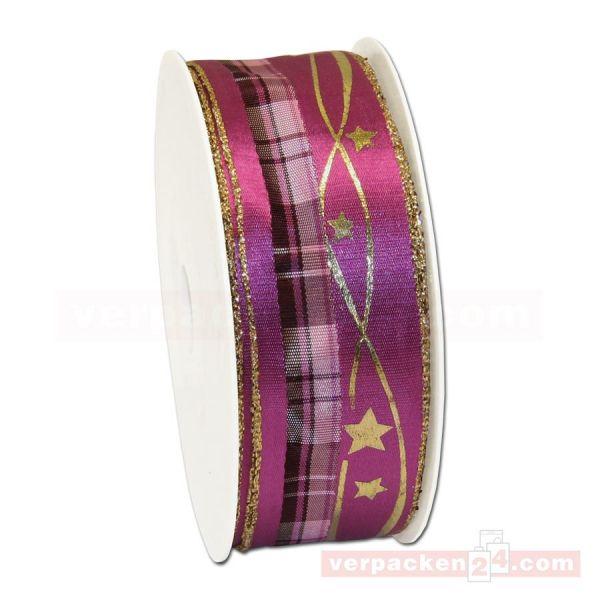 Drahtkantenband - Sterne + Streifen, Rolle 35 mm - pink/gold