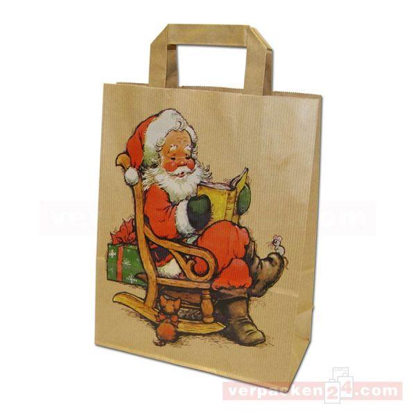 Weihnachts-Papiertragetasche - Schaukel - braun