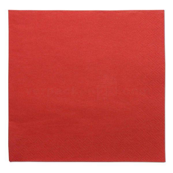 Tissue-Servietten farbig, 3-lagig, 33x33cm - 1/4 Falz - rot