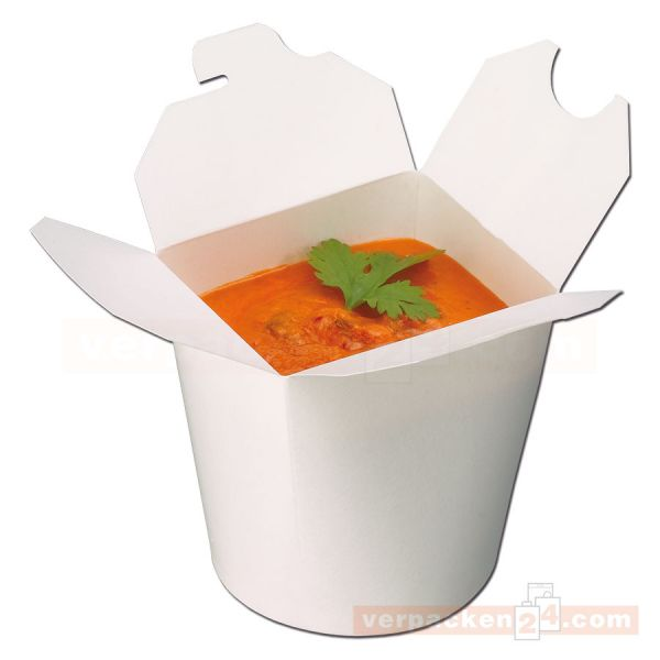 Deli-Boxen, Asia Snackbox - weiß - aus Hartpapier