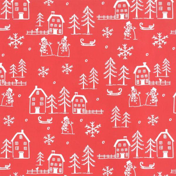 Weihnachts Geschenkpapier St 36166, Rolle 50 cm - Island rot