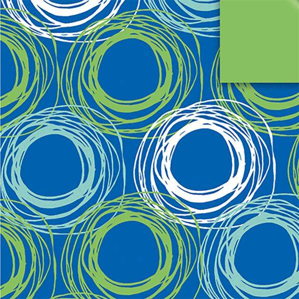 Geschenkpapier, neutral St 916079, Rolle 50 cm - Kringel blau