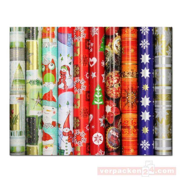 Weihnachts Geschenkpapier Röllchen 70 cm - Weihnachtszeit - (VE: 50 Rollen)
