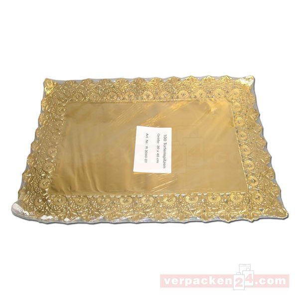 Tortenspitzen gold, eckig, mit Qualitätsspitzen - 30x40 cm