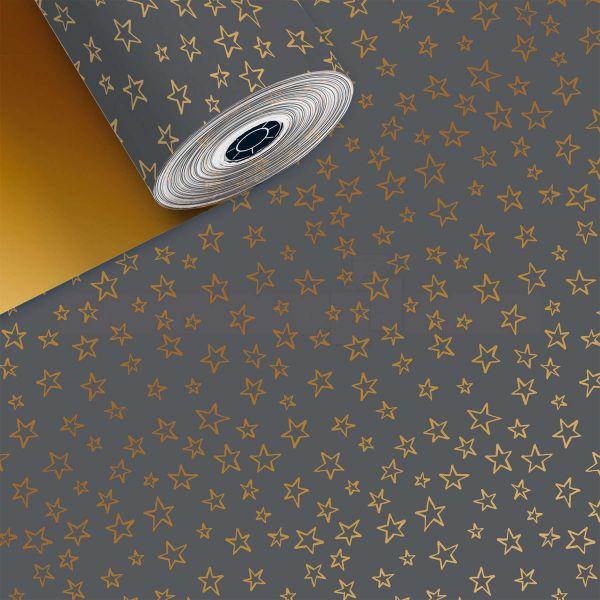 Weihnachts Geschenkpapier St 916249, Rolle 50cm, Sterne grau